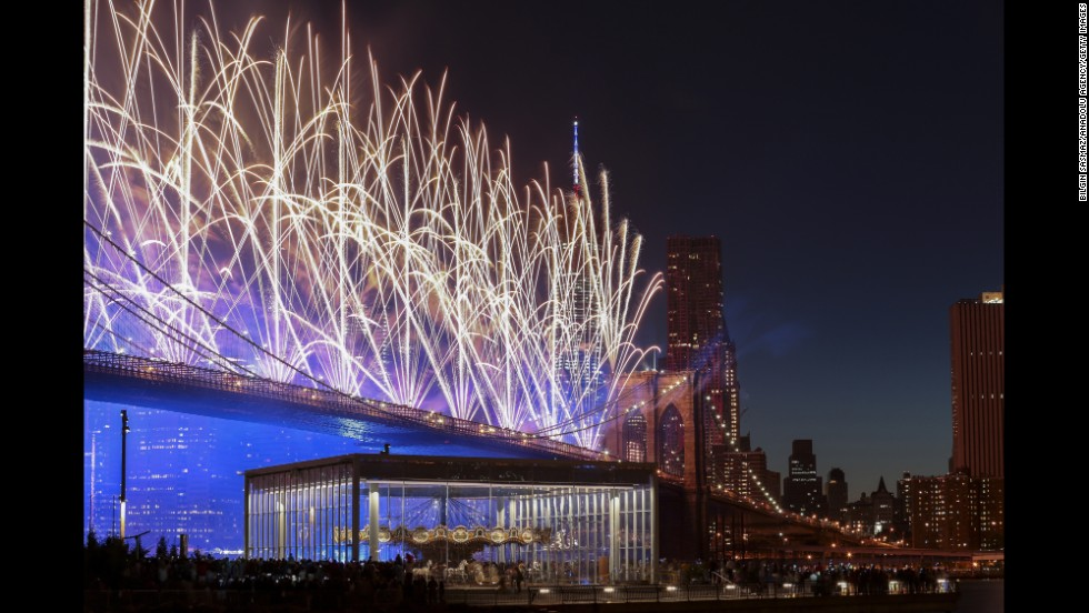 Fireworks are set off from the Brooklyn Bridge in New York, on Friday, July 4. The United States marked 238 years as an independent nation.