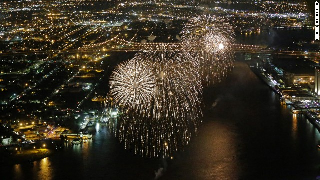 A Fourth of July fireworks celebration over the Mississippi River in New Orleans.
