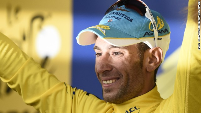 Vincenzo Nibali basks in the glory of the yellow jersey after winning the second stage of the Tour de France in Sheffield.