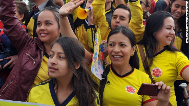 Thousands packed the streets of Bogota to welcome home the Colombian team after its exit from the World Cup in the quarterfinals.