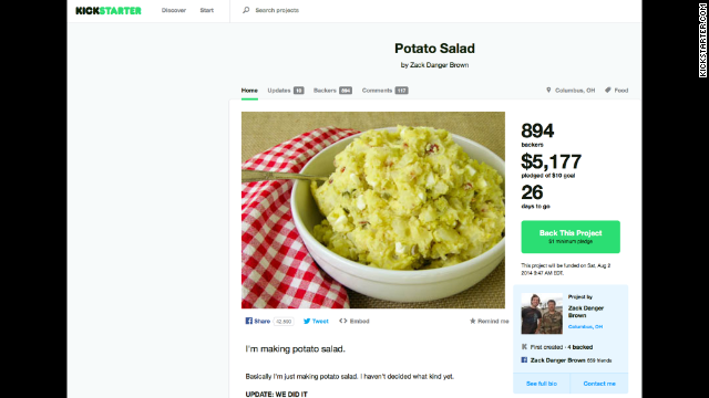 Zack Brown's potato salad Kickstarter campaign succeeded beyond his wildest dreams.