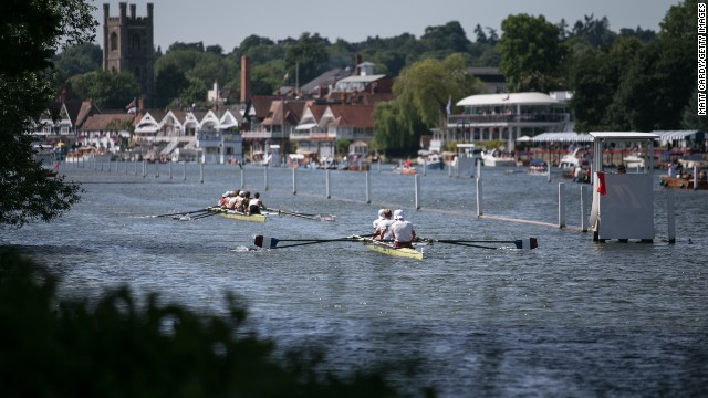"The picturesque setting of the Regatta in the town of Henley-on-Thames is part of the event's allure. ""That Henley is set on the river and hasn't got a horrible building (like similar events) adds to the charm,"" leading social commentator Peter York told CNN."