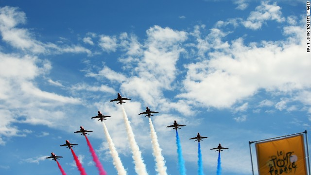 The first stage of the tour between Leeds and Harrogate kicked off in style with The Red Arrows of the RAF flying overhead.