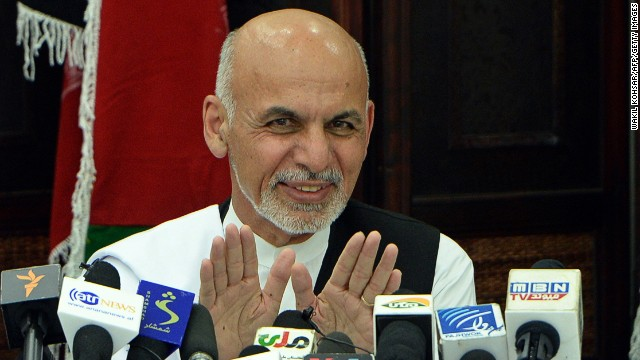 Ashraf Ghani gestures as he addresses a news conference in Kabul on July 5.