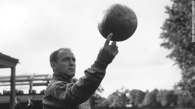 Former Real Madrid star Alfredo di Stefano, one of the world's greatest forwards, spinning a ball in October 1960 during a practice in England. Di Stefano died at the age of 88 on Monday after suffering a heart attack near Madrid's Benabeu Stadium.