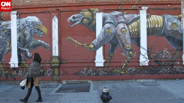 Abstract animals entertain passersby from an <a href='http://ireport.cnn.com/docs/DOC-1073357'>urban art project</a> in the East Williamsburg section of Brooklyn, New York. Artists have been putting up murals like this to revitalize the neighborhood.
