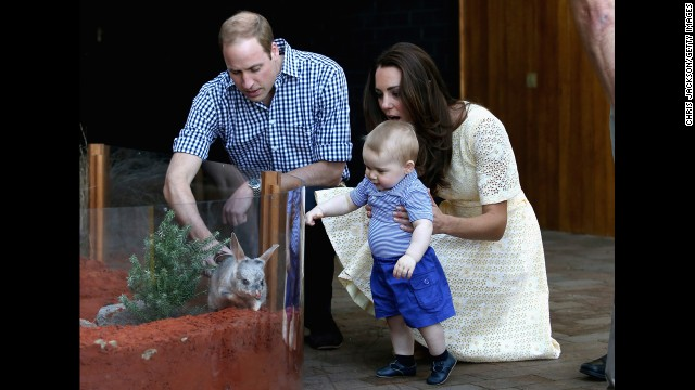 Catherine holds George as he meets a bilby -- Australia's version of the Easter bunny -- at Taronga Zoo on April 20.