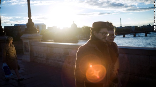 """<strong>2. Paris.</strong> Couples can experience the romantic atmosphere of Paris, as Ethan Hawke and Julie Delpy did in the Oscar-nominated """"Before Sunset,"""" by strolling through the streets or taking a sunset boat ride along the Seine."""