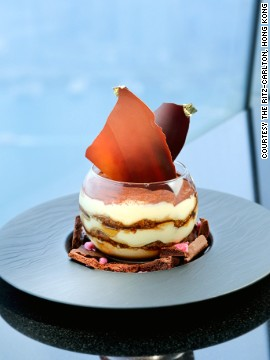 The world's highest hotel, Hong Kong's Ritz-Carlton (height 490 meters), home to Tosca, inspired the menu, Lavarra says.