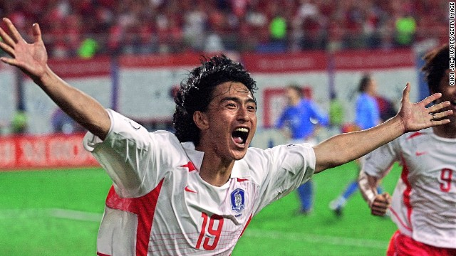 South Korea 2-1 Italy (2002): Co-host South Korea was not heavily fancied to do anything of note but, under the guidance of Dutch coach Guus Hiddink, made it to the semifinals by beating Spain in a penalty shootout. But its biggest achievement was in the previous round, knocking out Italy -- three times a World Cup champion, with another title to follow in 2006. Ahn Jung-Hwan sparked rapture in the stands with his golden goal -- but his contract was promptly canceled by Italian Serie A side Perugia, where he was on loan.