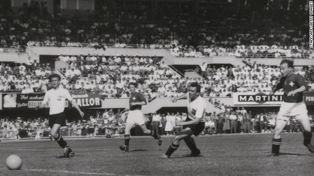 Austria 7-5 Switzerland (1954): The result was not a shock in the sense of the outcome of this quarterfinal match, but merely in the scoreline. A record 12 goals were scored, including a hat-trick by Swiss forward Josef Hugi, to exceed the 11 scored by Brazil and Poland in 1938's 6-5 result.