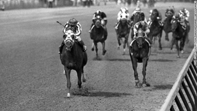 1973 Belmont Stakes: Announcer Chick Anderson knew it was a blowout, estimating Secretariat had won the race -- and the first Triple Crown in a quarter-century -- by 25 lengths. That was later amended to 31 lengths. In 2012, the Maryland Racing Commission ruled Secretariat's 1973 Preakness time was misrecorded, and the corrected time made Secretariat the fastest Triple Crown winner ever.