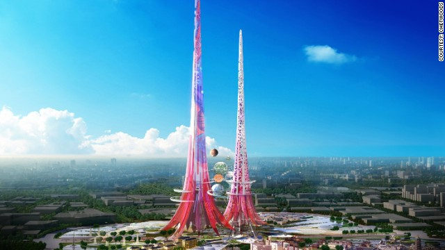 The towers will glow in vibrant pink, as a nod to the fuchsia flower.
