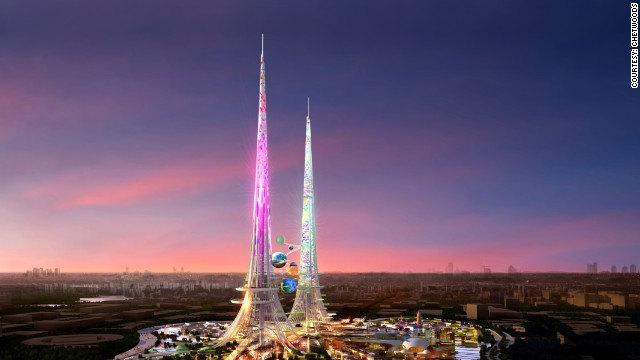 At more than one kilometer high, the Phoenix Towers in Wuhan will be the world's tallest building when they are complete.