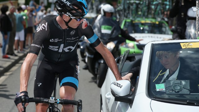 Chris Froome had begun the day struggling with a wrist injury and bowed out after two further crashes on stage five.