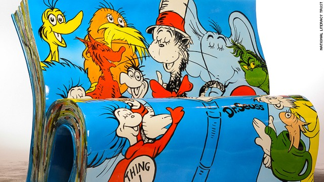 """There's no obvious London connection here, but """"The Cat in the Hat"""" and other Dr Seuss creations are perennial favorites everywhere. This bench can be found by the river, near City Hall."""