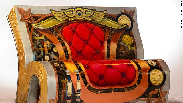 """H.G. Wells's sci-fi masterpiece """"The Time Machine"""" is depicted on a bench located -- appropriately -- in Greenwich, close to the Prime Meridian which defines Universal Time."""