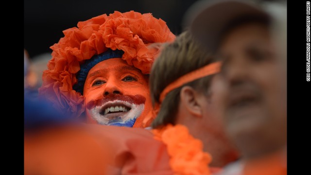 A Netherlands fan is seen in the stadium prior to the match. See the best World Cup photos from July 8