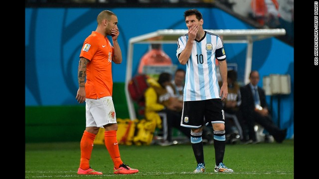 Messi, right, and Dutch midfielder Wesley Sneijder react during the match.