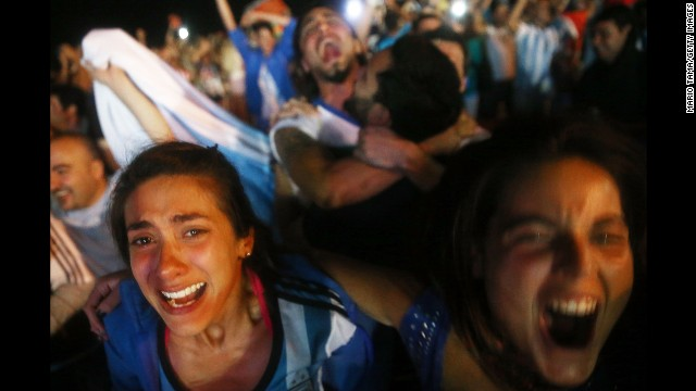 Fans celebrate on Copacabana Beach after Argentina won a World Cup semifinal match against the Netherlands on Wednesday, July 9.