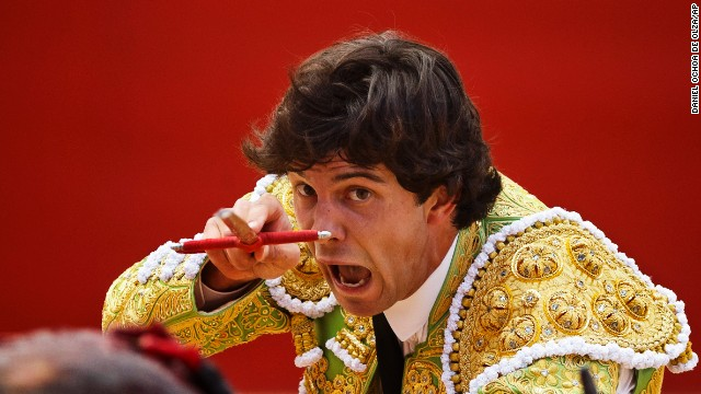 Bullfighter Juan del Alamo kills a bull with his sword on July 9.
