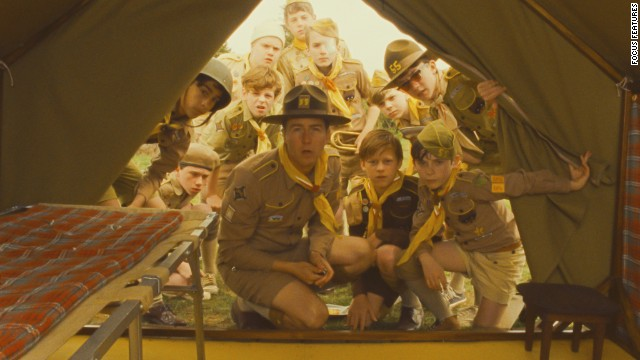 "Scouts from a local camp are enlisted to find two young lovers who have run away in the film ""Moonrise Kingdom,"" starring Edward Norton, center. From scouting camp to arts camp, there are a ton of summer sleepaway options for kids. Click through the gallery for more on-screen camp experiences."
