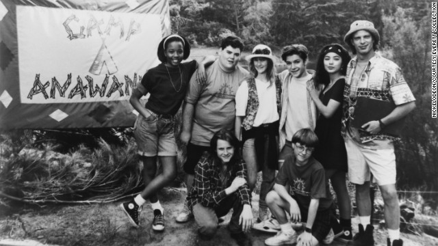 """The wisecracking kids of Nickelodeon's early '90s show """"Salute Your Shorts"""" worked overtime making life hard for their counselor """"Ug."""" Pictured: (l to r, top) Venus DeMilo, Michael Bower, Megan Berwick, Blake Soper, Heidi Lucas, Kirk Bailey (bottom) Danny Cooksey, Tim Eyster."""
