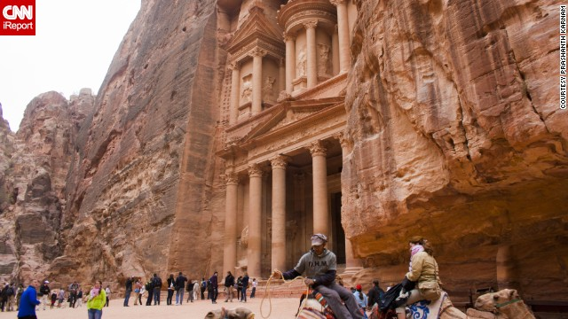 The prehistoric caravan city of Petra, Jordan, was once an <a href='http://ireport.cnn.com/docs/DOC-1150272'>important crossroad in the Middle East</a>, and was literally carved into the mountain rock that surrounds it. Located between the Red and Dead seas, it's considered one of the world's most famous archaeological sites.
