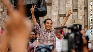 Indonesian Presidential Candidate Joko Widodo greets his supporters as he declares victory in the Indonesian Presidential election, although the vote counting is not complete, the race is very close, and the other Candidate Prabowo Subianto has also claimed victory in the race on July 9, 2014 in Jakarta, Indonesia.
