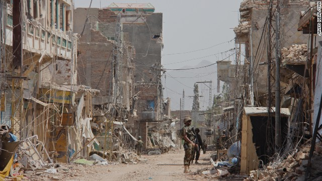 Miranshah has been left looking like a street in war-torn Syria. At least 500,000 people have been displaced by the army's campaign.