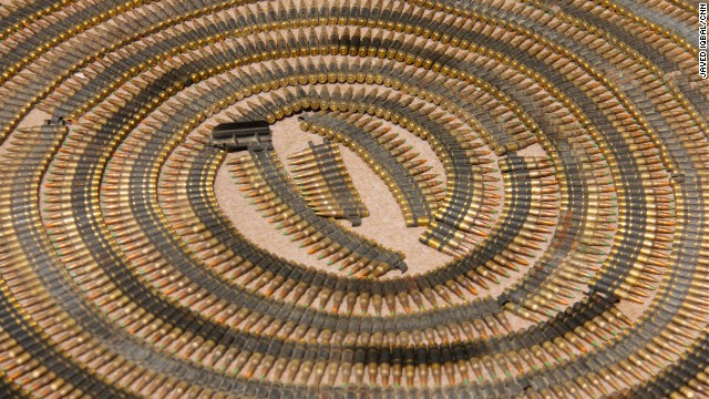 The military displays ammunition recovered by militants in Miranshah.