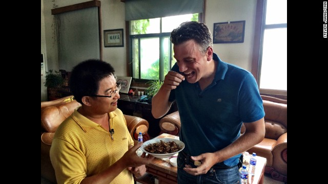 "CHINA: ""Priceless facial expression...CNN's David McKenzie (<a href='http://instagram.com/mckenziecnn' target='_blank'>@mckenziecnn</a>) tries a double-fried cockroach after interviewing the cockroach farm owner in eastern China. This farm breeds millions of cockroaches in cement ""hives"" and sells them to Chinese medicine makers. "" - CNN's Steven Jiang. Follow Steven (<a href='http://instagram.com/stevencnn' target='_blank'>@stevencnn</a>) and other CNNers along on Instagram at <a href='http://instagram.com/cnn' target='_blank'>instagram.com/cnn</a>."