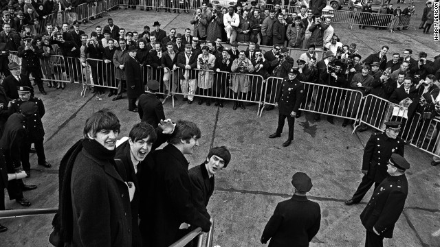 The Beatles arrive at New York's John F. Kennedy International Airport in February 1964.