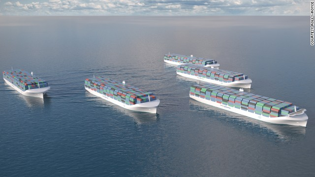 Engineering company Rolls-Royce has unveiled designs for unmanned cargo ships. The streamlined vessels would be operated by remote control onshore, requiring around 10 c