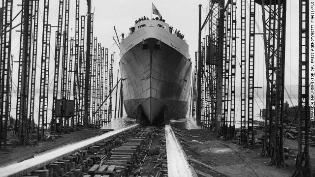"Cargo ships have come a long way from this hulking vessel, pictured easing down a slipway in Glasgow, Scotland, in 1945. ""If you go maybe 150 years back, a normal cargo vessel had about 250 crew. And it's been reducing ever since -- now we are down to 12 or 15,"" said Levander."