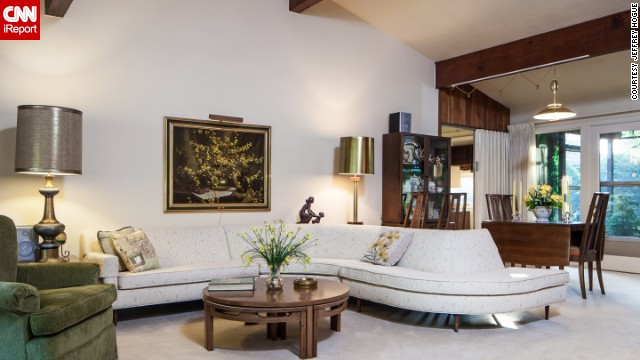 Inside the Shillington house, the couch alone doesn't let you forget this is a mid-century home.