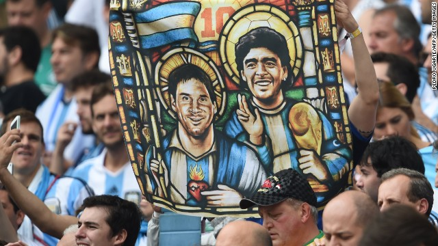 Argentine fans see their captain as the new Maradona, who they hope can lead their team to World Cup triumph once again.