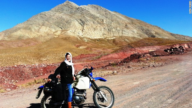 Crossing the Dasht-e-Lut (or Lut Desert) toward the ancient city of Yazd. British travel writer Lois Pryce spent 60 days motorcycling around the country, on her own.