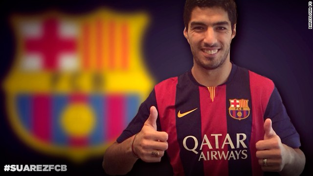 Luis Suarez will line up alongside Lionel Messi and Neymar at Barcelona this season after signing for the Catalan club from Liverpool.