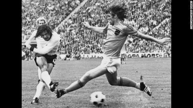 Gerd Müller (left): A World Cup winning goal against the Dutch in 1974