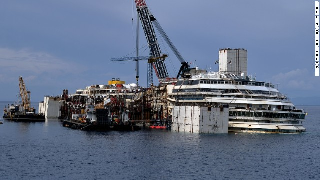 The wrecked Costa Concordia cruise ship lies off Giglio Island on June 26.