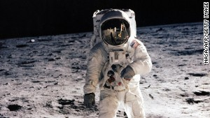 Buzz Aldrin walks on the moon on July 20, 1969. Sunday will be the 45th anniversary of the lunar landing.\n