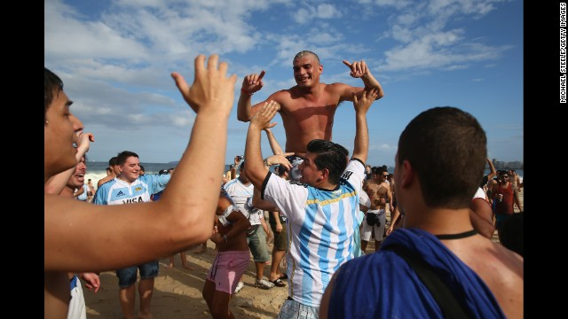 Argentina fans gather on Copacabana Beach ahead of the match in Rio de Janeiro, Brazil.