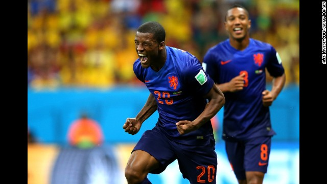 Georginio Wijnaldum of the Netherlands celebrates scoring his team's third goal in the World Cup third-place match in Brasilia. Netherlands defeated Brazil 3-0.