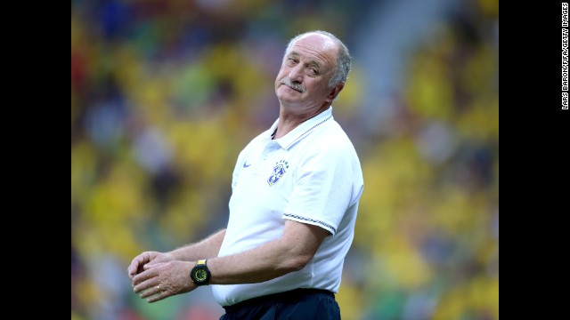 Brazil's head coach Luiz Felipe Scolari reacts during the match.