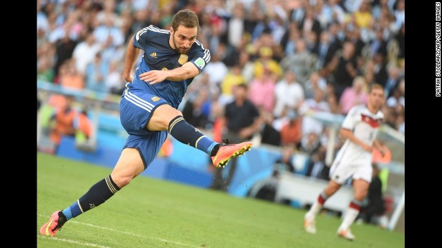 Higuain takes a shot in the first half.