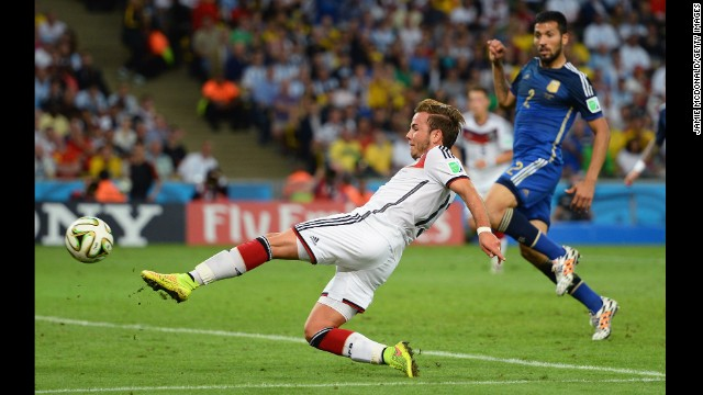 Germany's Mario Gotze scores the goal that would decide the World Cup final Sunday, July 13, in Rio de Janeiro. Gotze, a late substitute, scored the goal in extra time as Germany won 1-0. Click through the gallery to see all the goals scored in the World Cup.