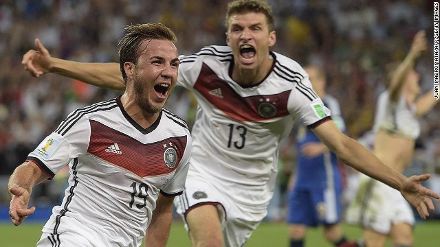 Gotze, left, celebrates with teammate Thomas Muller after scoring the goal that would decide the match.