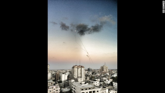GAZA CITY: Rockets being fired from Gaza into Israel. Photo by CNN's Ian Lee, July 13. Palestinians struggle to find safety as Israel and Hamas continue attacks. <a href='http://www.cnn.com/2014/07/14/world/meast/mideast-crisis/index.html?hpt=hp_t1'>FULL STORY AT CNN.COM</a>. Follow Ian (<a href='http://instagram.com/ianjameslee' target='_blank'>@ianjameslee</a>) and other CNNers along on Instagram at <a href='http://instagram.com/cnn' target='_blank'>instagram.com/cnn</a>.