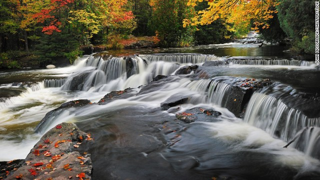 A Michigan State Scenic site, Paulding's Bond Falls has a boardwalk from the parking lot where visitors can take a short walk to a great view of the rushing water.
